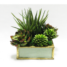 Load image into Gallery viewer, Wooden Short Square Container Green w/ Gold Antique - Succulents Green Artificial