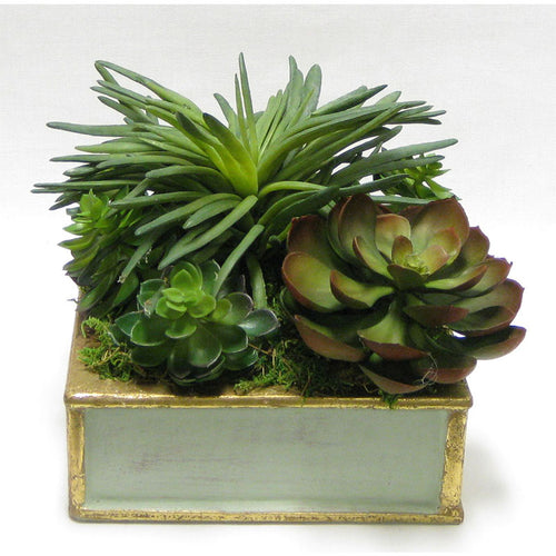 Wooden Short Square Container Gray Green w/ Gold - Succulents Green Artificial