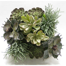 Load image into Gallery viewer, [WSSP-GS-SUSG] Wooden Short Square Container Antique Gray w/ Silver - Succulents Sage Artificial