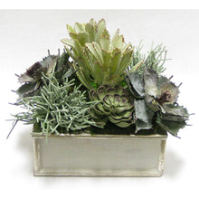 Load image into Gallery viewer, Wooden Short Square Container Antique Gray w/ Silver - Succulents Sage Artificial