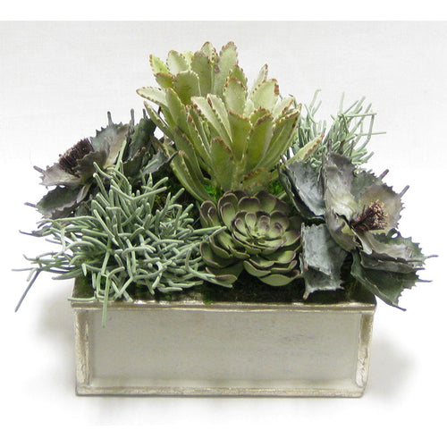 Wooden Short Square Container Antique Gray w/ Silver - Succulents Sage Artificial