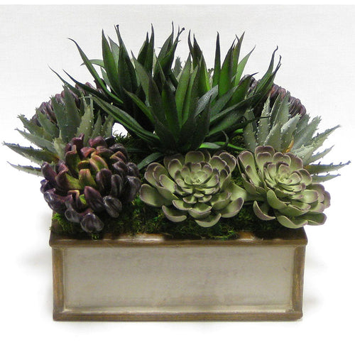 Wooden Short Square Container Patina w/ Bronze - Succulents Sage & Purple Artificial