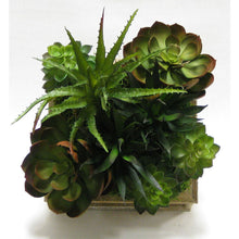 Load image into Gallery viewer, [WSSP-WA-SUBGX] Wooden Short Square Container Weathered Natural - Succulents Green & Burgundy Artificial
