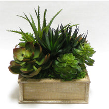 Load image into Gallery viewer, Wooden Short Square Container Weathered Natural - Succulents Green & Burgundy Artificial