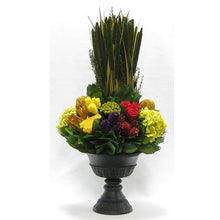 Load image into Gallery viewer, Wooden Urn Black Antique - Multicolor w/ Pensularia, Clover, Roses, Banksia, Protea & Hydrangea Basil