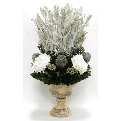 Wooden Urn Weathered Antique - Integ White, Phylica White, Banksia Grey & Hydrangea White
