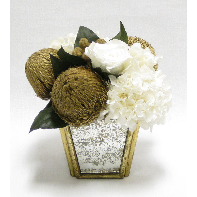 Small Wooden Container Gold  Antique w/Mirror - Banksia Gold & Hydrangea White..