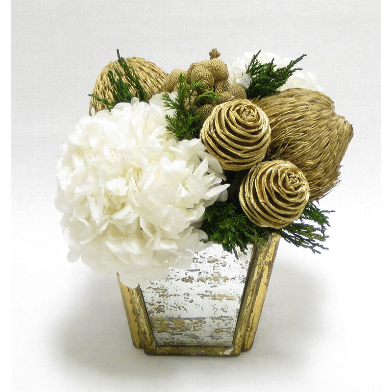 Small Wooden Container Gold Antique w/Mirror - Spiral Cones Gold & Hydrangea White..