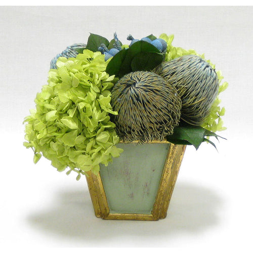 Wooden Small Container Grey Green -  Brunia Blue, Banksia Blue, & Hydrangea Basil