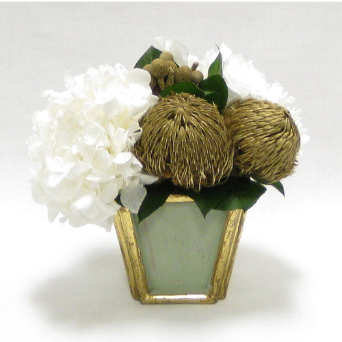 Wooden Small Container Grey Green - Banksia Gold & Hydrangea White