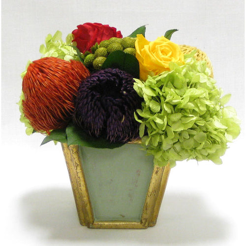 Wooden Small Container Grey Green - Banksia Red, Purple, Yellow, Roses Red & Yellow w/Hydrangea Basil