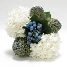 Load image into Gallery viewer, [WXSP-GS-BBLHDW] Wooden Small Container Grey Silver - Brunia Blue, Banksia Blue & Hydrangea White