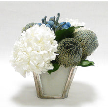 Load image into Gallery viewer, Wooden Small Container Grey Silver - Brunia Blue, Banksia Blue & Hydrangea White