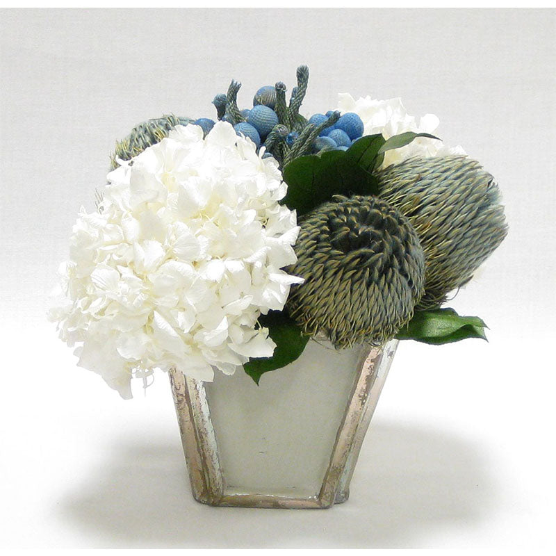 Wooden Small Container Grey Silver - Brunia Blue, Banksia Blue & Hydrangea White