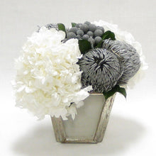Load image into Gallery viewer, Wooden Small Container Grey Silver - Banksia Silver & Hydrangea White