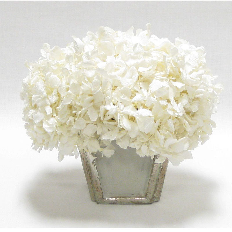 Wooden Small Container Grey Silver  - Hydrangea White