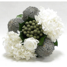 Load image into Gallery viewer, [WXSP-GS-RBKBRHDW] Wooden Small Container Grey Silver - Roses White, Banksia Lt Grey, Brunia Nat & Hydrangea White