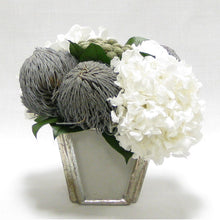 Load image into Gallery viewer, Wooden Small Container Grey Silver - Roses White, Banksia Lt Grey, Brunia Nat & Hydrangea White
