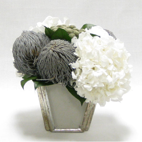 Wooden Small Container Grey Silver - Roses White, Banksia Lt Grey, Brunia Nat & Hydrangea White