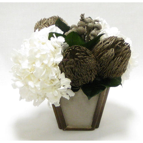 Small Wooden Container Patina Distressed w/ Bronze - Banksia Bronze & Hydrangea White
