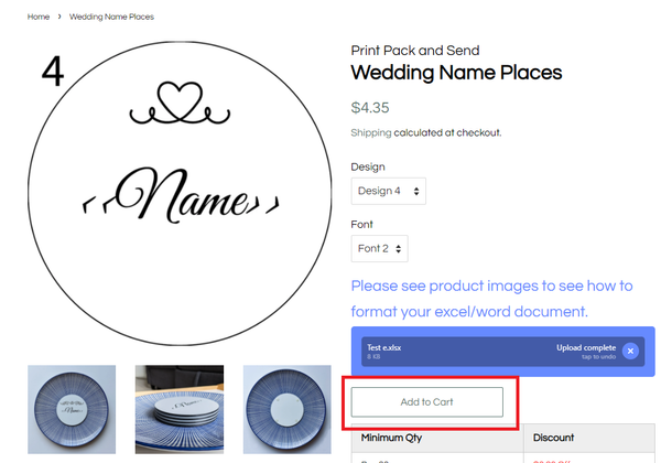 Wedding Name Places Add to Cart