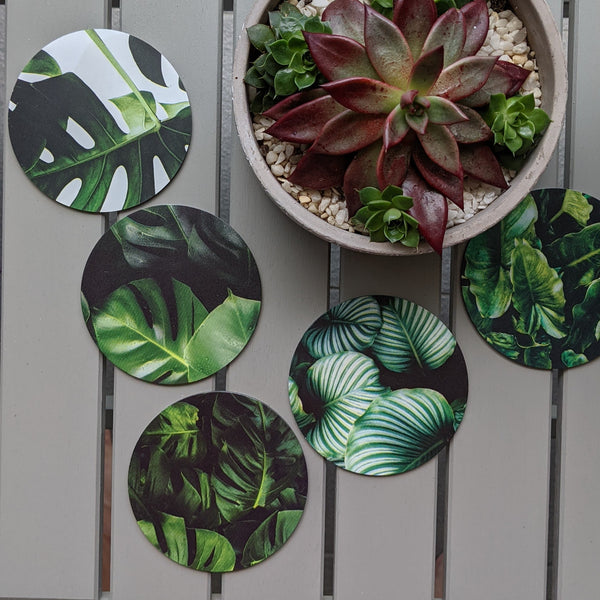 Metal Leaf Coaster Set
