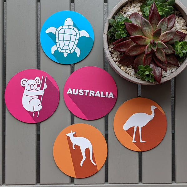 Australian Wildlife Coaster Set Metal