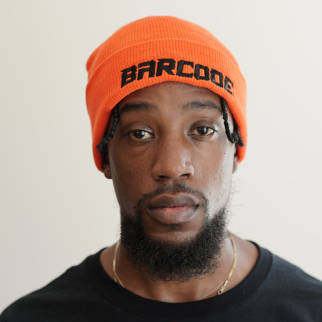 NEON ORANGE BARCODE BEANIE