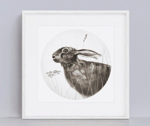 Hare giclee print of an original pencil drawing.