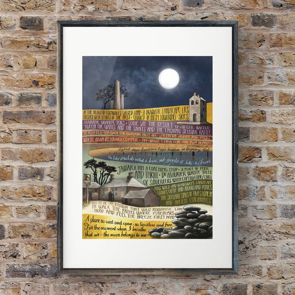 Bodmin Moor Art Print, Language in the Landscape, Giclee Print of my original Illustration and Words, Cornwall Art Print