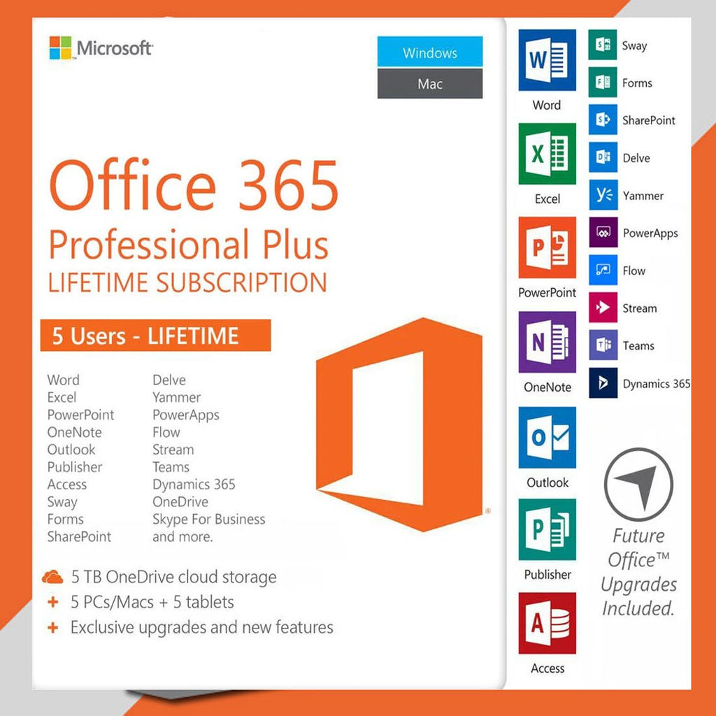 Microsoft Office 365 Professional Plus For 5 Devices, Lifetime PC / MAC