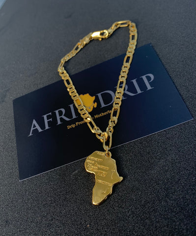Gold African Continent Bracelet