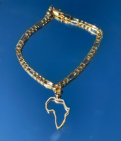 Gold African Continent Outline Bracelet