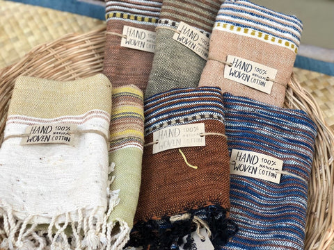 Sourced from the North Eastern provinces of Thailand - ETHICALLY SOURCED SILKS AND COTTON ACCESSORIES - SILK SCARVES, ORGANIC COTTON SCARVES, HANDSPUN, HANDOWOVEN, HANDMADE, MULBERRY SILKS, HAND DYED, PLANT BASED DYES, ORGANIC, ARTISAN MADE