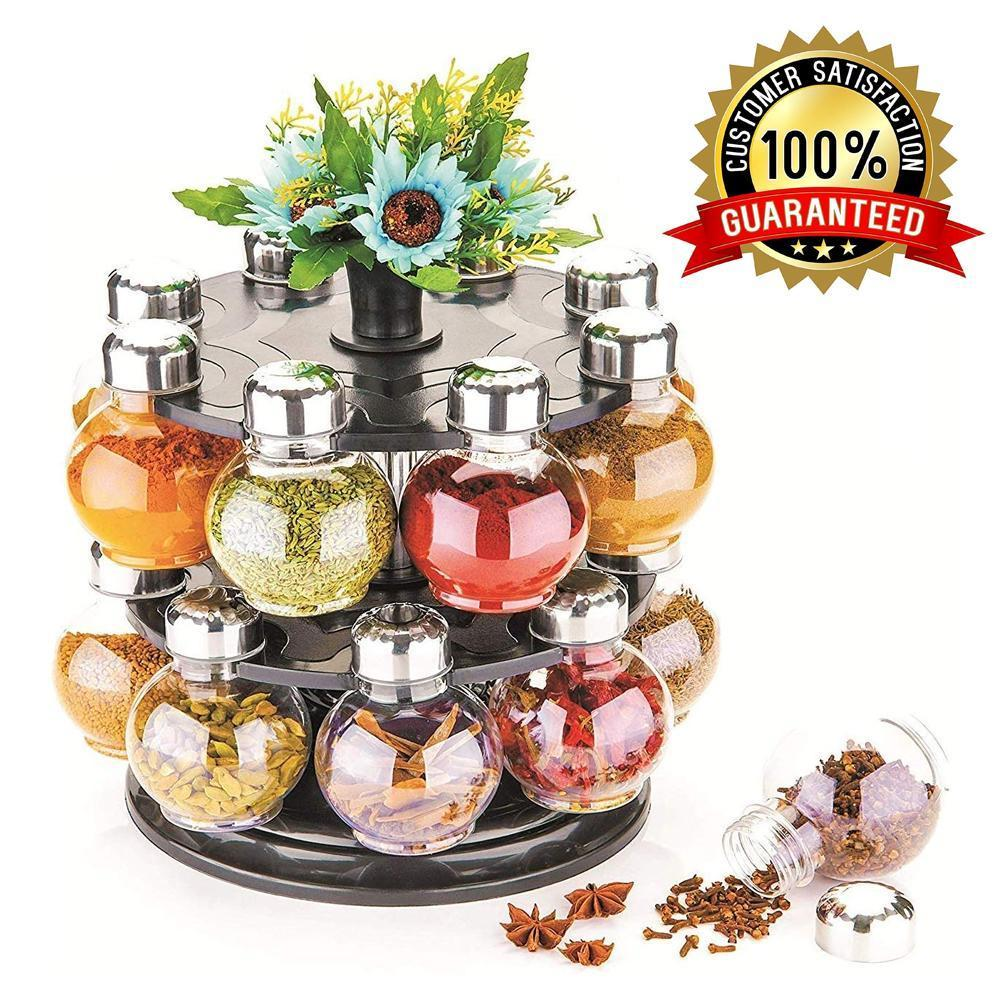 0069 Multipurpose Revolving Plastic Spice Rack Set (16pcs)