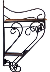 Wall Hanging Metal Stand/Twin Wooden Shelf for Kitchen/Pooja Room/Home Decor- L*B*H inches - 9 * 6.5 * 10.5