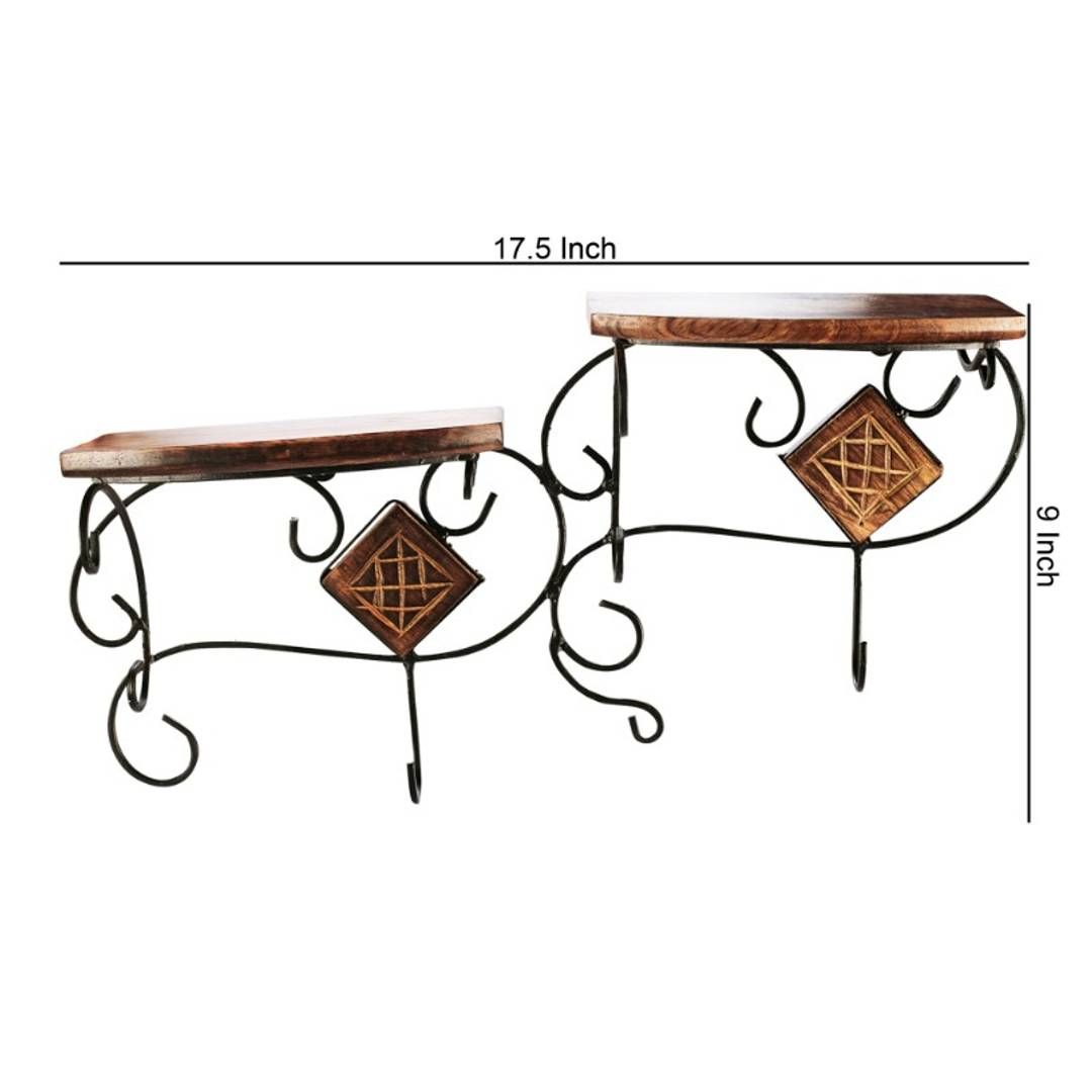 Wooden and Wrought Iron Wall Bracket