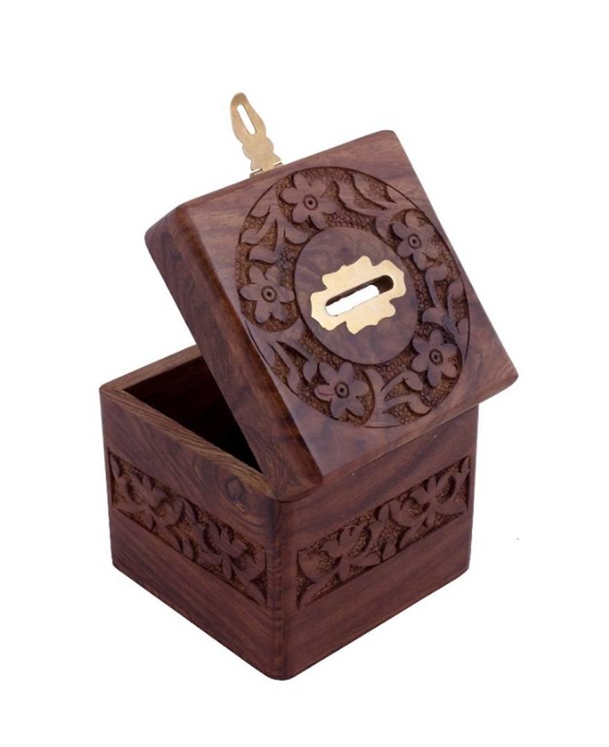 Premium Quality Wooden Money/Coin/Piggy Bank cum multiutilty box for Kids/Adults/House Wife/Grand Parents - 4 Inch