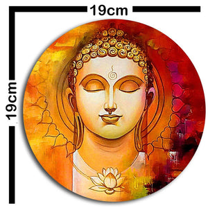 Studio Shubham wooden Abstract buddha painting wall plates hanging(Set of 3)