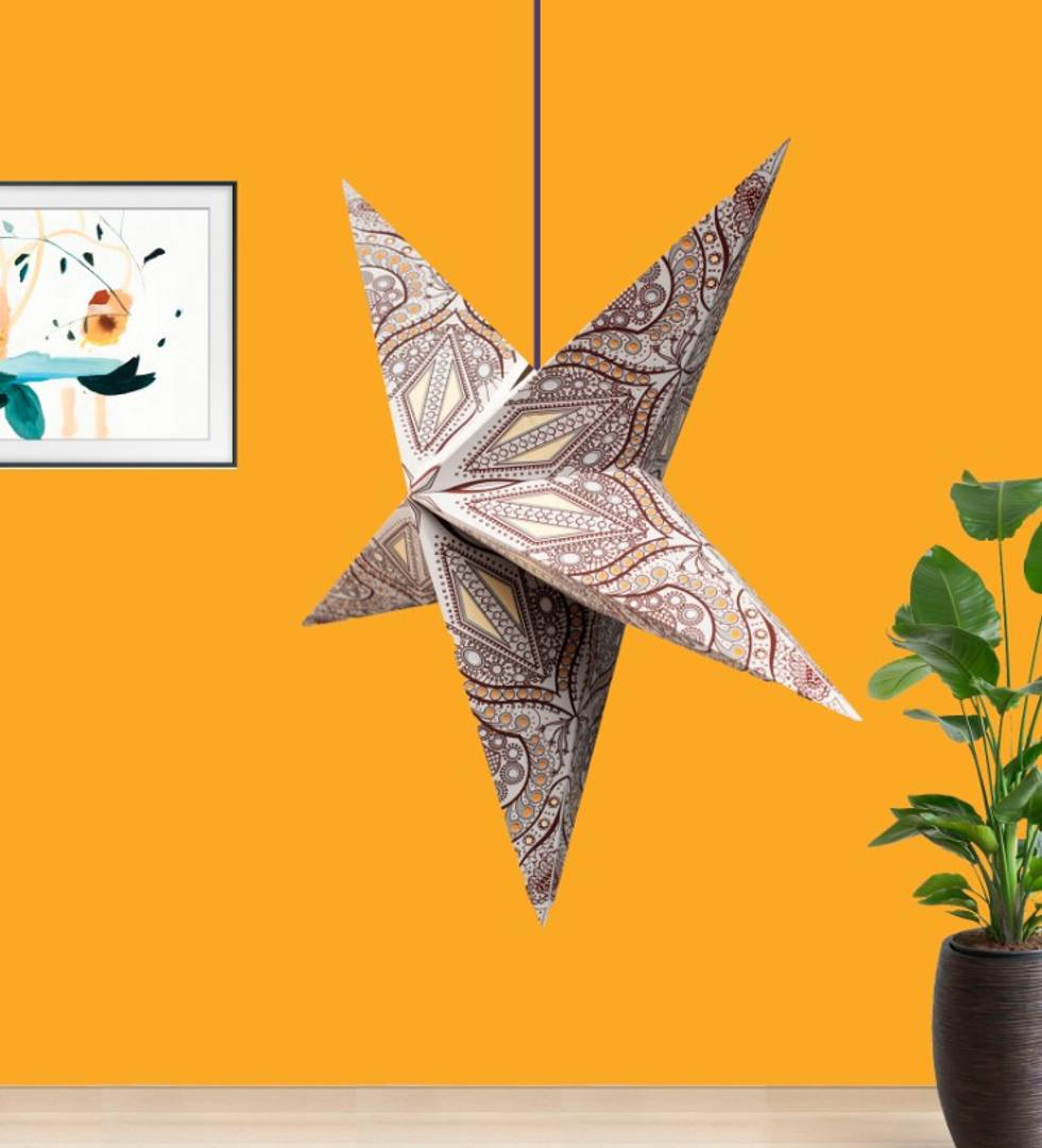 Grey Yellow Trishul Screen Paper Star Lantern Lampshade for All Party & Festival/Hanging Christmas Xmas Day Decoration Birthday/Party Home/Diwali - 60 Cm