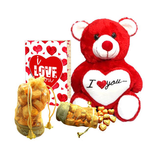 Home Made Chocolate Gift Set (200 gram Chocolates, 1 Teddy Bear, ILU Card)-1