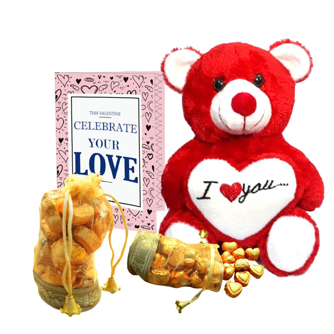 Home Made Chocolate Gift Set (200 gram Chocolates, 1 Teddy Bear, Cupid Blessing Card)