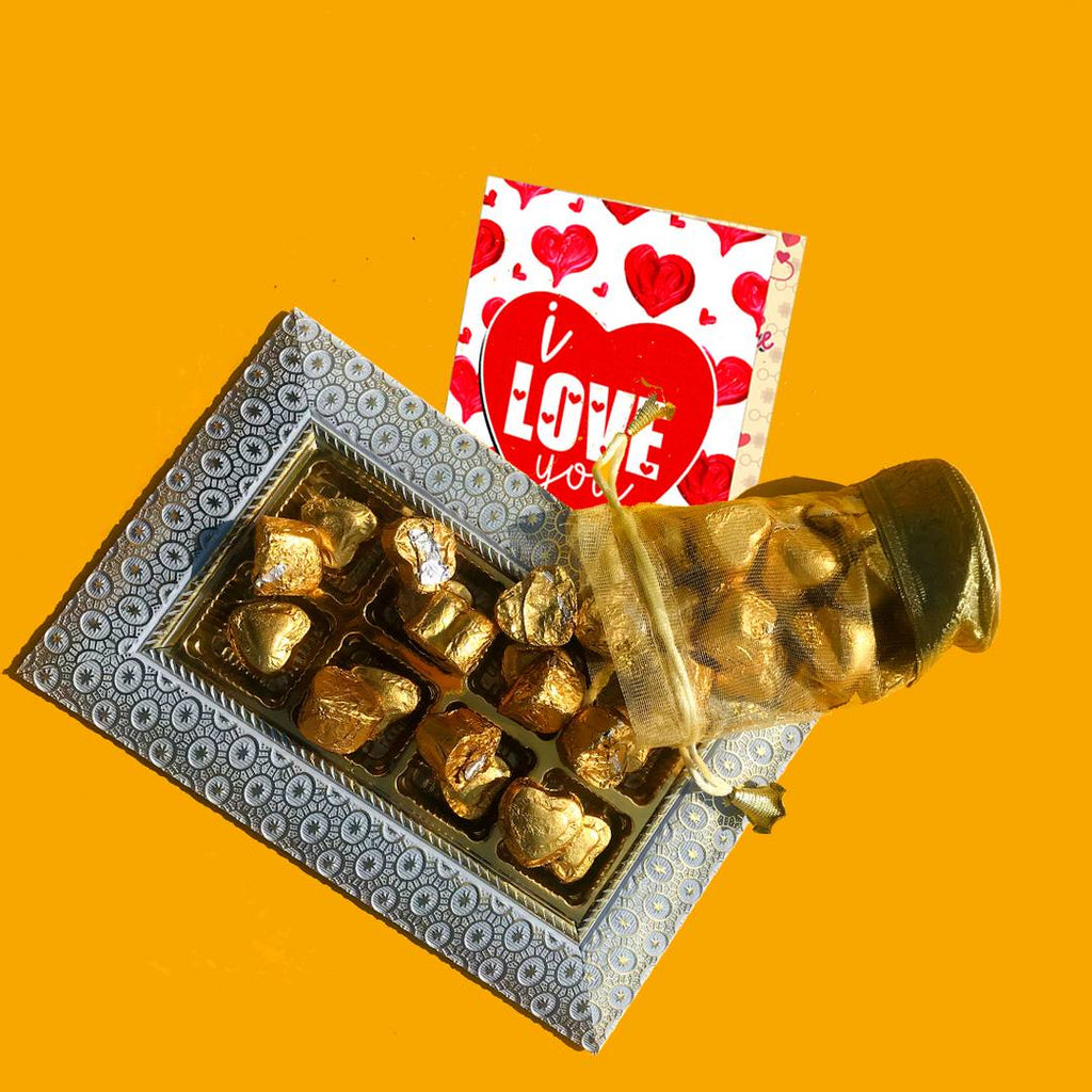 Home Made Chocolate Gift Set (300 gram Chocolates & ILU CARD)