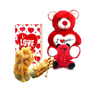 Home Made Chocolate Gift Set (200 gram Chocolates, 2 Teddy Bear, ILU Card)-1