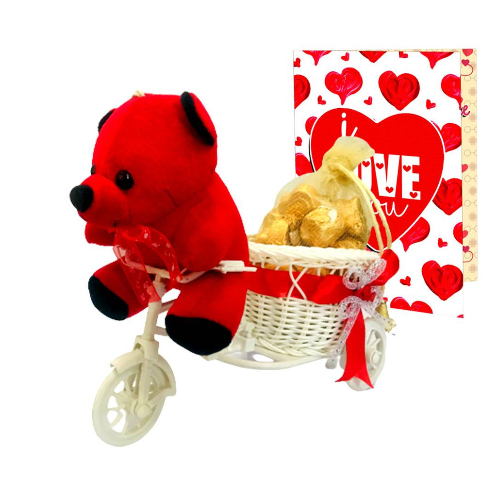 Home Made Chocolate Gift Set (200 gram Chocolates, 1 Teddy, 1 Artificial Cycle & ILU CARD)-2