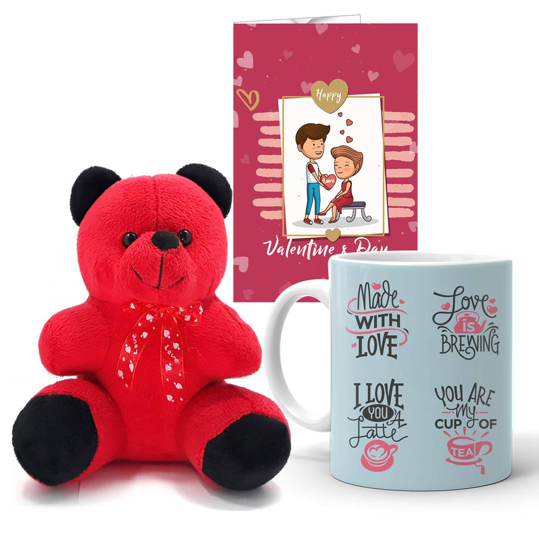 Valentine's Day Gift Printed Mug, Teddy,Love Message Greeting card for Girlfriend Boyfriend wife Husband(Pack of 3)