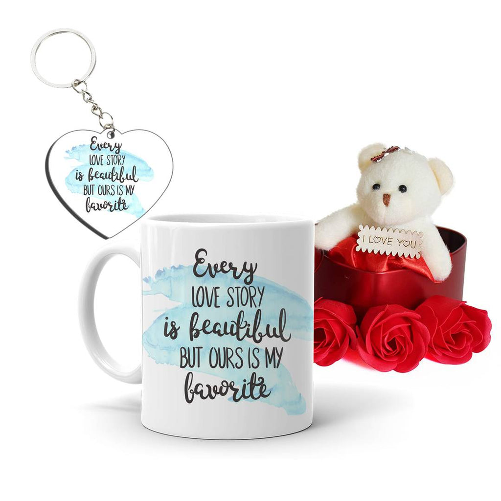 Valentine's day Gift Printed Mug, Heart Box Teddy, Keychain Combo for Girlfriend, Boyfriend, Wife,Husband, Spouse,Fiancee Best Gift(Pack Of 3)