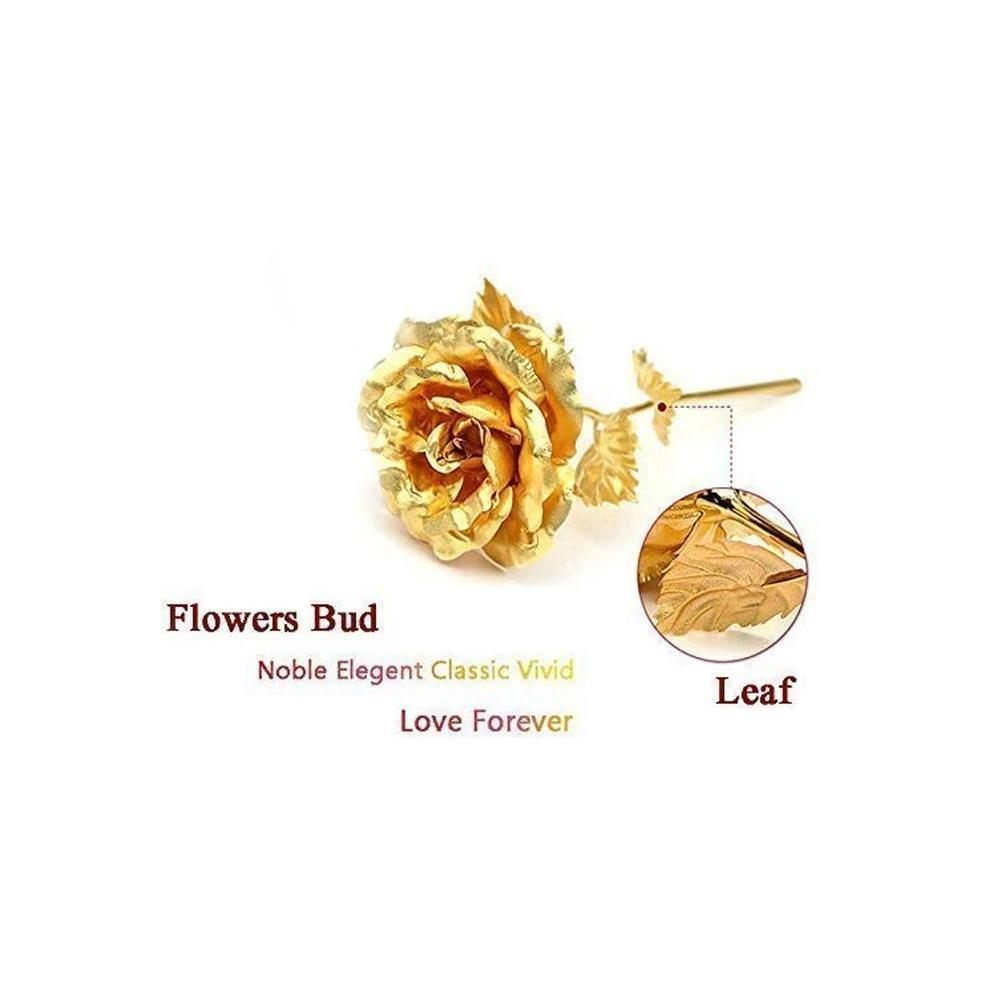 0879 24K Artificial Golden Rose/Gold Red Rose with Gift Box (10 inches)