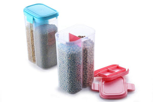2147 Plastic 2 Sections Air Tight Transparent Food Grain Cereal Storage Container (2 ltr)