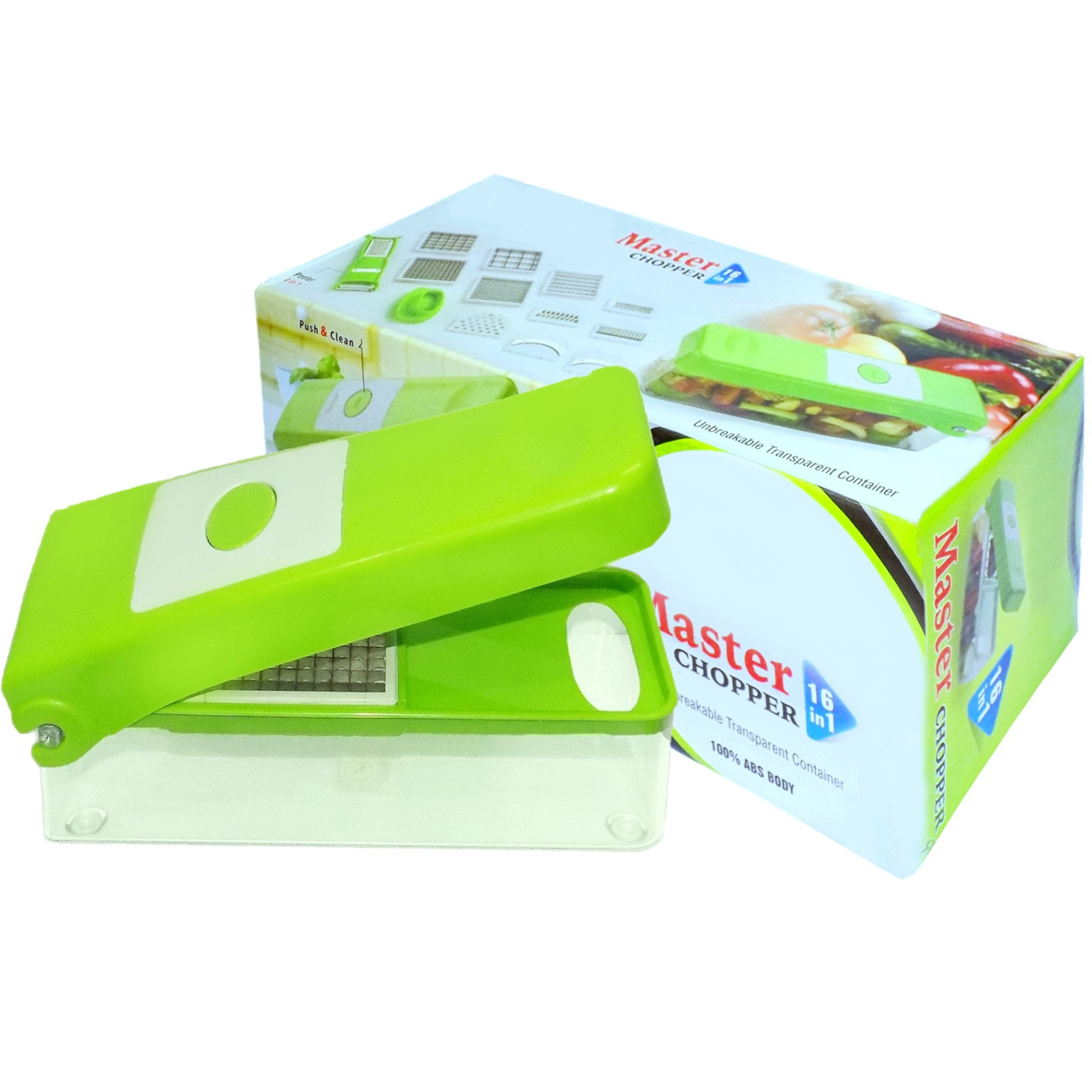 2203 Plastic Big 16 in 1 Dicer with Cutter with easy Push and pull Button - DeoDap
